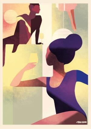 Wine couple poster